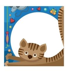 Cute furry cat animal vector image vector image