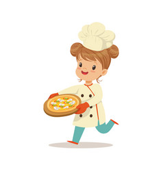 cute little girl running with a freshly cooked vector image