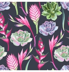 Exotic flowers and succulents seamless vector image vector image