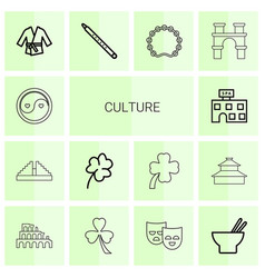 14 culture icons vector