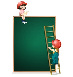 A girl sitting above the empty board and a girl vector