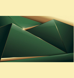Abstract polygonal pattern luxury green and gold vector