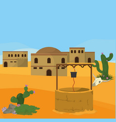 Arab village with waterhole vector