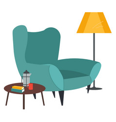 Armchair lamp and coffee press on table vector
