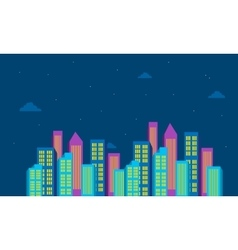 At night landscape city building color vector
