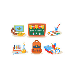 back to school icons set different school vector image