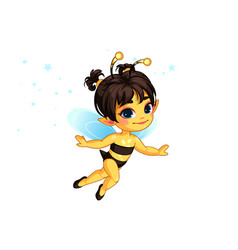beautiful honey bee fairy vector image