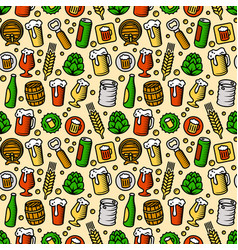 Beer pattern engraved style color vector