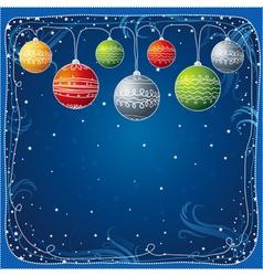 blue christmas card with christmas ball vector image