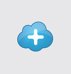 Blue cloud plus icon vector image