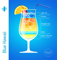 Blue Hawaii cocktail vector