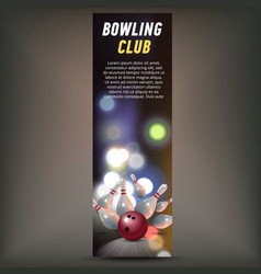 bowling vertical banner with bowling champ club vector image