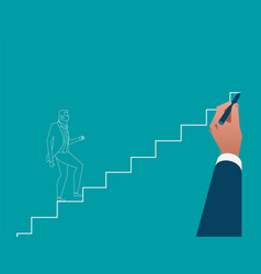 businessman hand drawing career ladder concept vector image