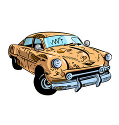 Cartoon image of broken down car cartoon vector