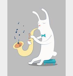 cartoon white rabbit playing saxophone vector image