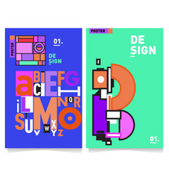Covers design set with retro style cool geometric vector