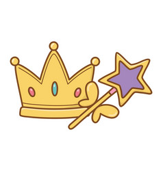 Crown and wand vector