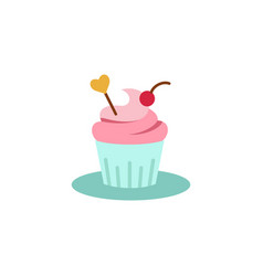 cupcake decorated with heart icon vector image