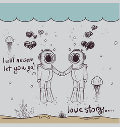 cute love two divers-boy and girl vector image