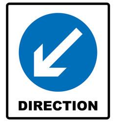direction sign blue circle mandatory vector image