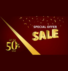 Discount up to 50 special offer gold banner vector