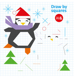 Draw squares penguin in winter art kid game vector