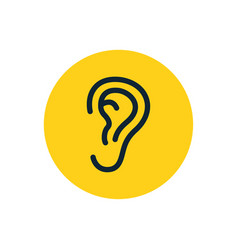 ear icon symbol human ear listen hear line vector image