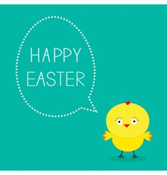 Easter chicken and dash bubble card vector
