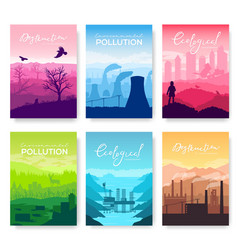 Environmental disaster in nature landscape vector