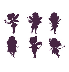 Fairies princess silhouette fairy girl vector