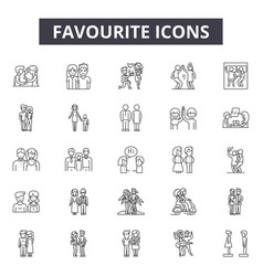 favourite line icons signs set outline vector image
