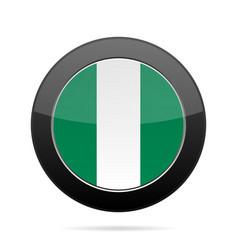 Flag of nigeria shiny black round button vector