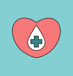 Flat icon design collection heart with a cross vector