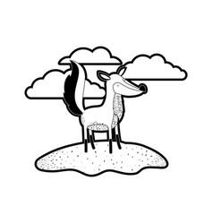 fox cartoon in outdoor scene with clouds in black vector image
