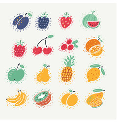 Fruit and berries set vector