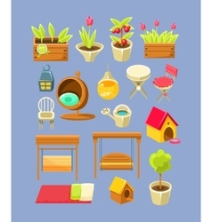 Garden Interior Elements Set vector image