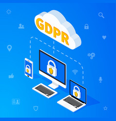 gdpr isometric concept vector image