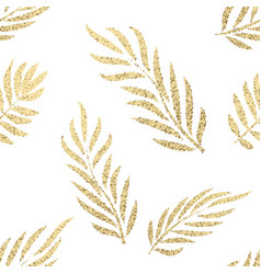 Golden tropical leaves seamless pattern vector