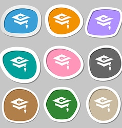 Graduation icon symbols multicolored paper vector