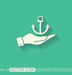 Hand holding a nautical anchor anchor seafaring vector