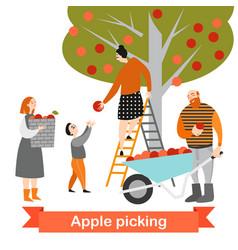 Happy family is picking apples in garden vector