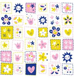 happy flowers pattern vector image