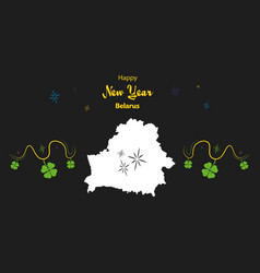 Happy new year theme with map of belarus vector