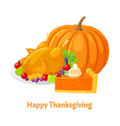 happy thanksgiving day poster and food vector image