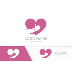 Heart and like logo combination best love vector