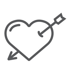 heart pierced with arrow line icon love and vector image