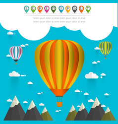 Hot air balloon in the sky over moutain vector