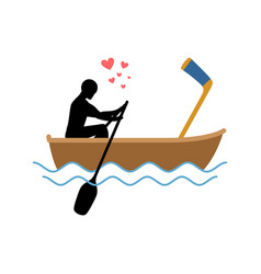lover hockey guy and hockey stick ride in boat vector image