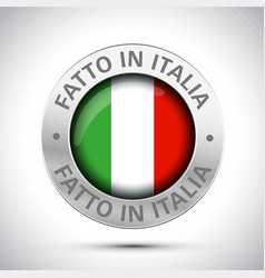 made in italy flag metal icon vector image