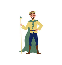 Majestic king in green cape standing with staff vector
